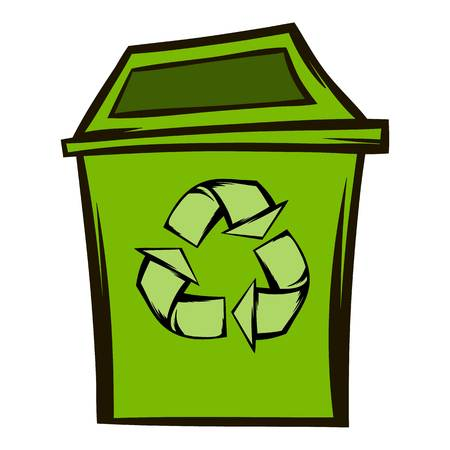 pointed arrows: Trash can recycling eco symbol Illustration