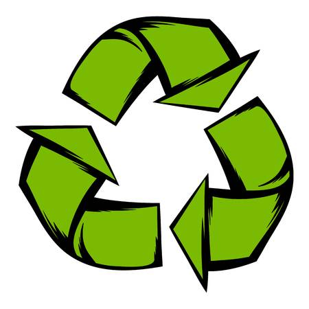 reflection of life: Green recycle symbol icon cartoon