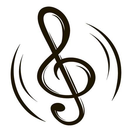 Music key icon cartoon