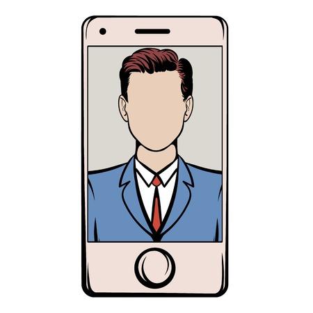skype: Smart phone with a skype video icon cartoon
