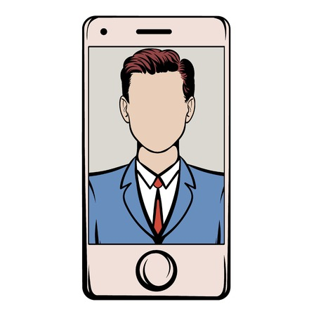 Smart phone with a skype video icon cartoon