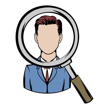 analyze: Magnifying glass focused on a person icon cartoon Illustration