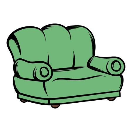 Green sofa icon cartoon 向量圖像