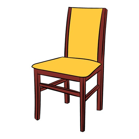 Classic wooden chair comic icon Illustration