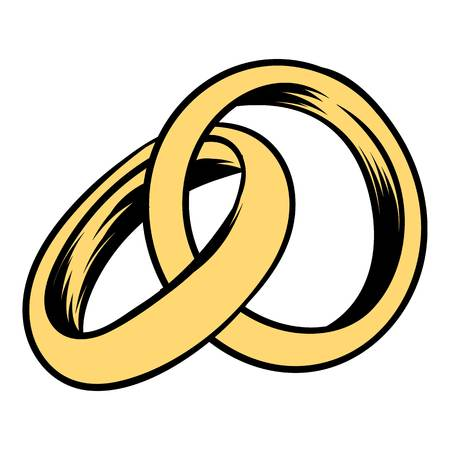 Wedding rings icon cartoon