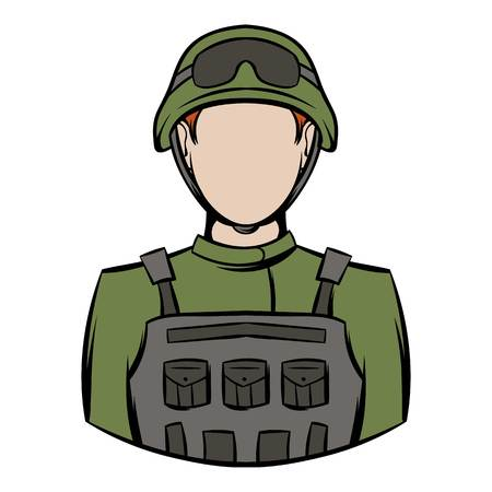 tactics: Soldier icon cartoon Illustration