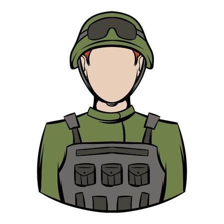 Soldier icon cartoon Illustration