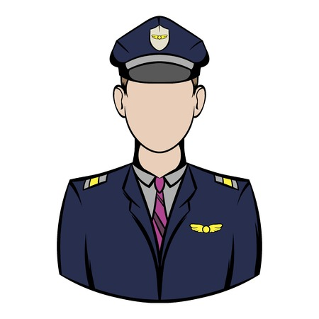 Captain of the aircraft icon cartoon Illustration