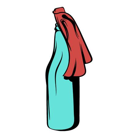 Glass bottle filled with gasoline icon cartoon Illustration