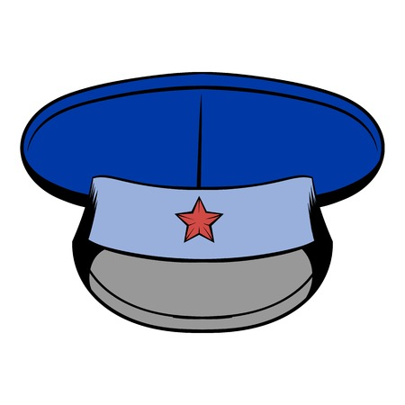 captain cap: Blue military hat with star icon cartoon