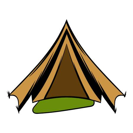 Military tent icon cartoon