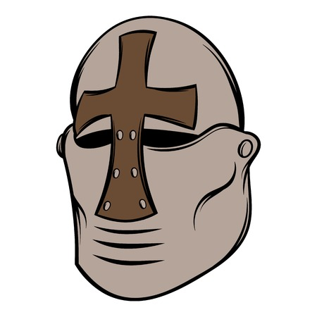 Crusader knight helmet icon cartoon