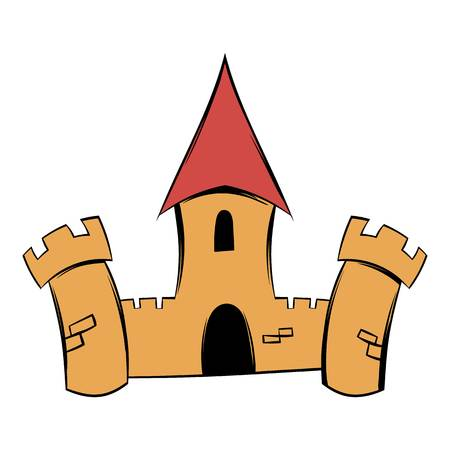 Medieval castle fortress icon cartoon