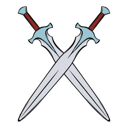 Swords crossed icon cartoon