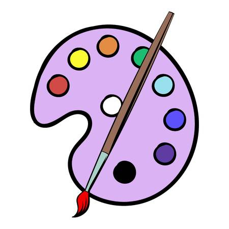 Palette with brush icon cartoon