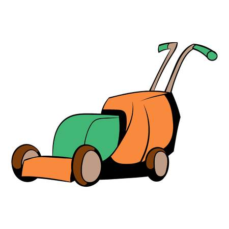 grass blades: Lawn mower icon cartoon