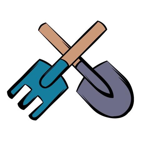 Spade and pitchfork icon cartoon