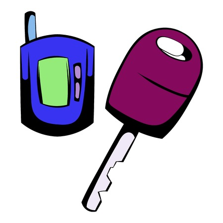 starter: Car key with a remote control icon cartoon