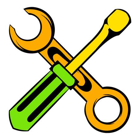 Screwdriver and spanner icon cartoon