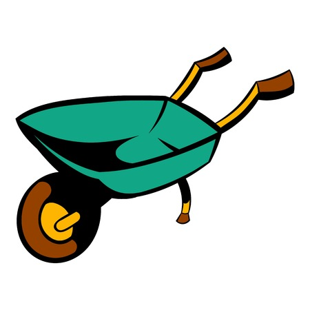 hauling: Gardening wheelbarrow icon cartoon Illustration