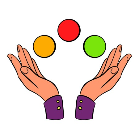 Hands juggling balls icon cartoon