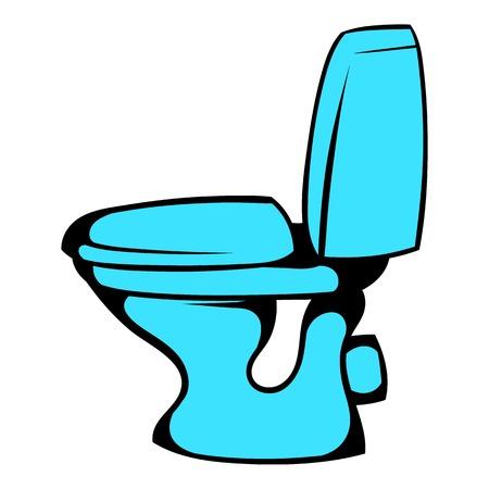 Blue toilet icon cartoon