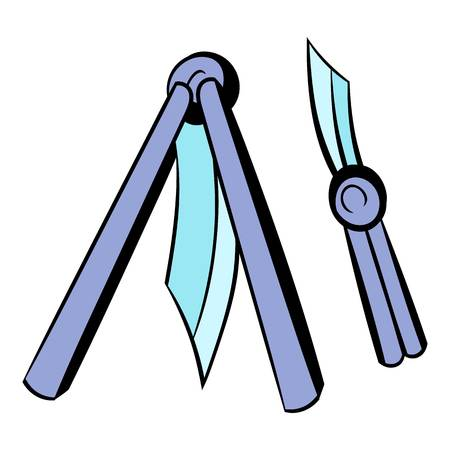 Butterfly knife icon, icon cartoon Ilustrace