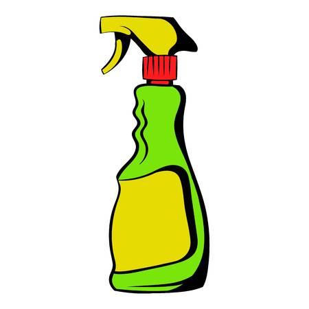 Plastic hand spray bottle icon, icon cartoon Иллюстрация