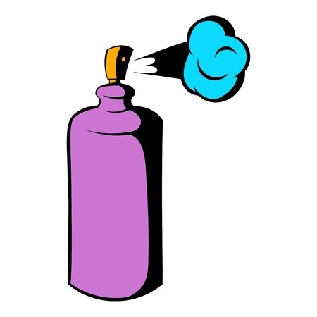 Spray can in use icon, icon cartoon