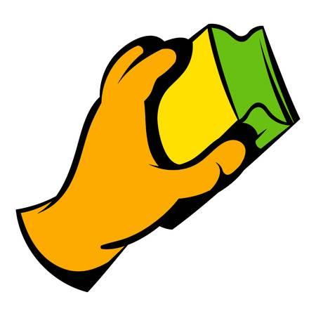 Main dans les gants avec l'icône de chiffon, icône de dessin animé