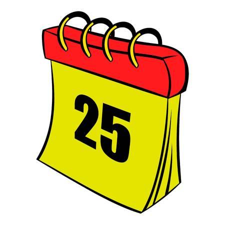 Calendar 25 number  icon cartoon Illustration