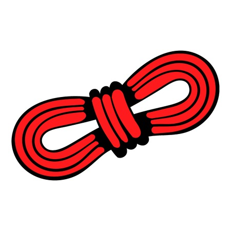 safety harness: Red rope and carabiners icon, in icon cartoon