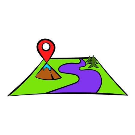 viewer: Map with pin pointers icon, icon cartoon