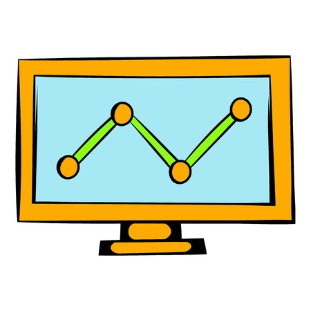 analytic: Graph on the computer monitor icon, icon cartoon