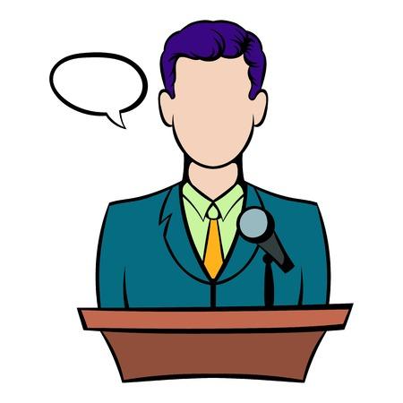 Orator speaking from tribune icon, icon cartoon Illustration