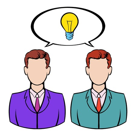 smart goals: Two businessmen and lightbulb icon, icon cartoon