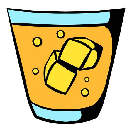 scotch whisky: Glass of whiskey and ice icon, icon cartoon