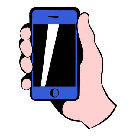 smartphone hand: Smartphone in hand icon, icon cartoon