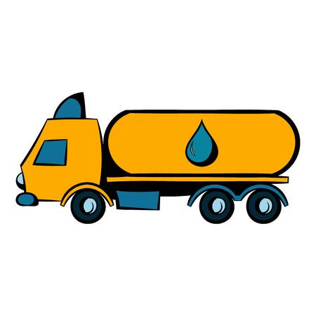 Truck with fuel tank icon, icon cartoon