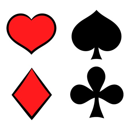 Playing card suit in black and red icon Illustration