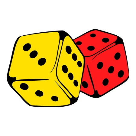 Red and yellow dice icon, icon cartoon Illustration