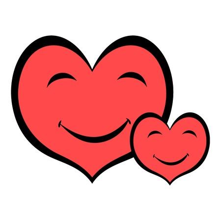 Smiling heart faces icon, icon cartoon Illustration
