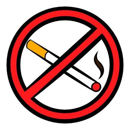 No smoking sign icon, icon cartoon Illustration