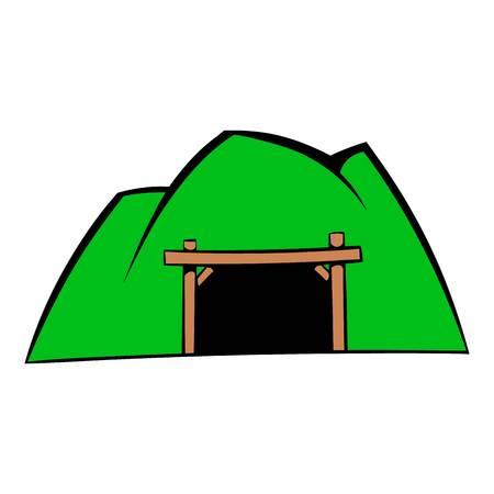 Mountain mine icon, icon cartoon