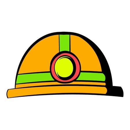 Helmet with flashlight icon, icon cartoon