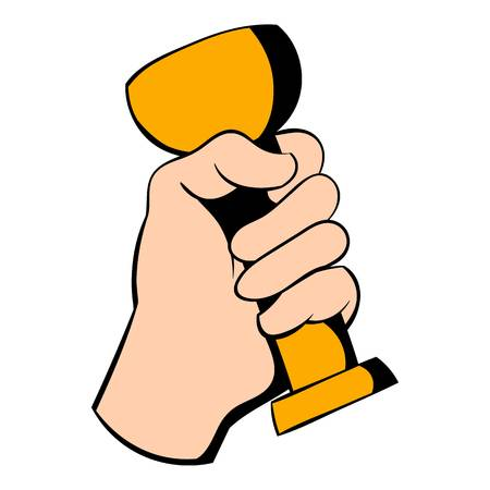 Hand holding trophy cup icon, icon cartoon