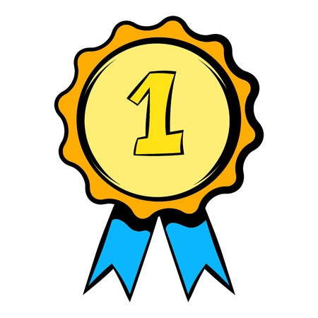 First place rosette icon, icon cartoon Illustration