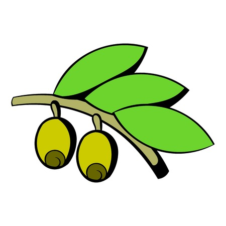 Olives on branch with leaves icon, icon cartoon Illustration