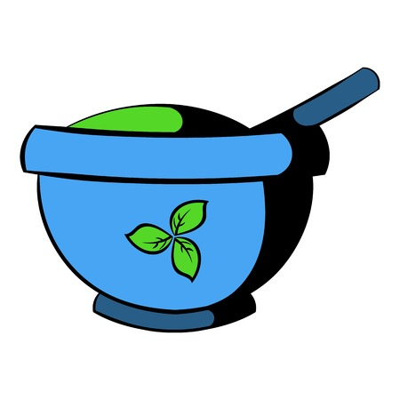 Blue mortar and pestle icon, icon cartoon