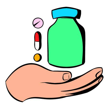 Hand with vitamins and medication icon Illustration